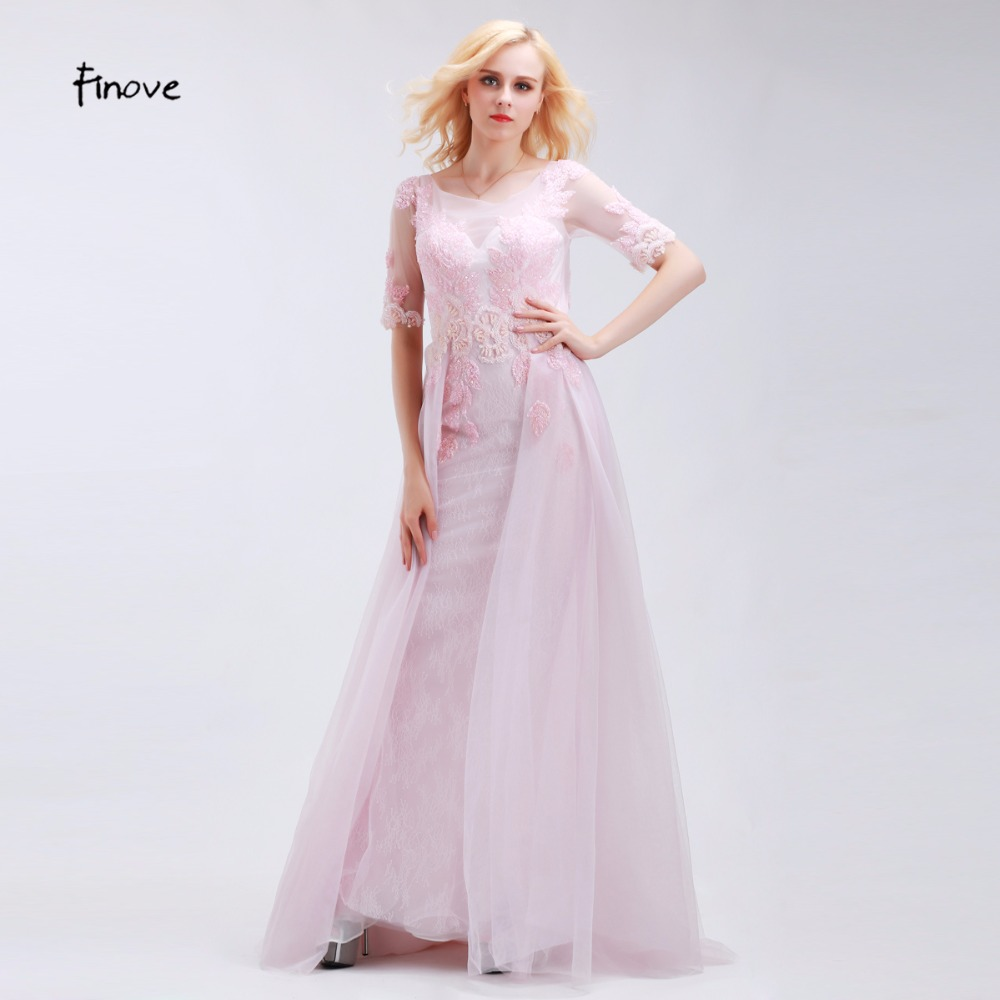 Online buy wholesale pink long bridesmaid dress from china pink finove romantic pale pink bridesmaid dresses elegant mermaid half sleeve scoop neck backless sequins beading chiffon ombrellifo Image collections