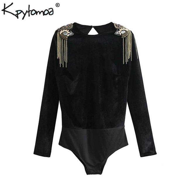 8cbb440efdf3 Vintage Stylish Beading Appliques Velvet Look Bodysuits Women 2018 Fashion  Backless Long Sleeve Ladies Rompers Casual Body Tops