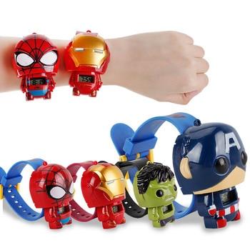 цена Super Hero Watch The Avengers Action Figures Spider Man Iron Man Watch Captain American Hulk Projection Time Kids Toy онлайн в 2017 году