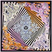 Шелковый шарф Для женщин шарф платок женский дизайнерский шарф Цвета лента в полоску принт толстый Шелковый Обёрточная бумага роскошный по...