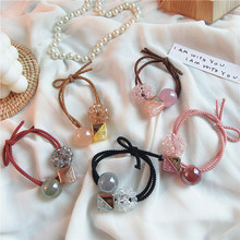 Korea Simple Beautiful Crystal Ball Square Rubber Band for Women Girls Headdress Fashion Temperament Ponytail Hair Accessories