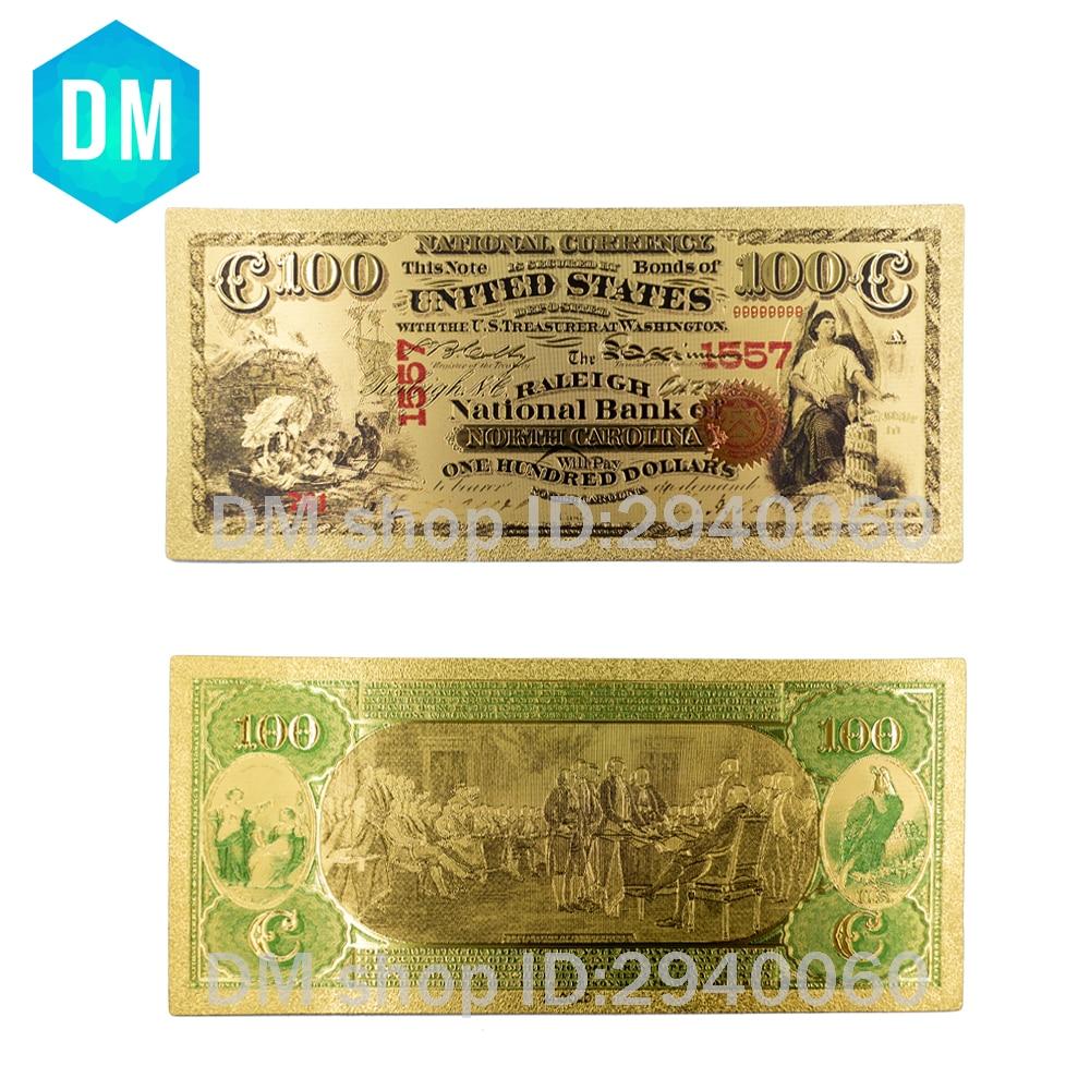 US $1 71 OFF TERBARU Emas Uang Kertas USA $100 Emas Disepuh Bankote USD Hot Sale 24 k Emas Foil Kertas Bagus Koleksi Tagihan di Uang Kertas emas