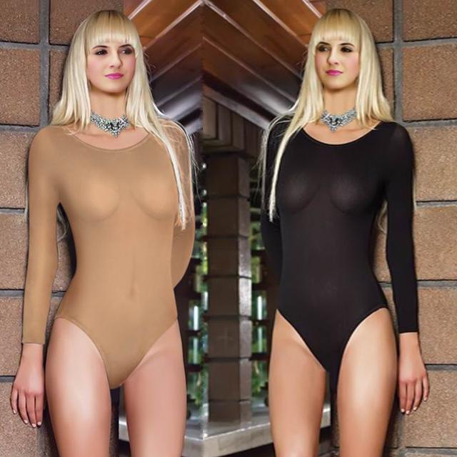 Envío libre Dos del envío lencería sexy delgada transparente traje de baño maillot de manga larga overoles calcetines carne Gaocha Corrector