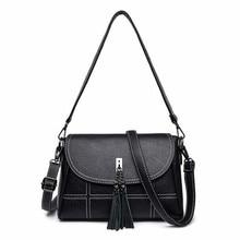 2019 New Arrival Women Bags Fashion Tassel Women Crossbody Bags High Quality Soft PU Leather Female Handbags Plaid Ladies Bags