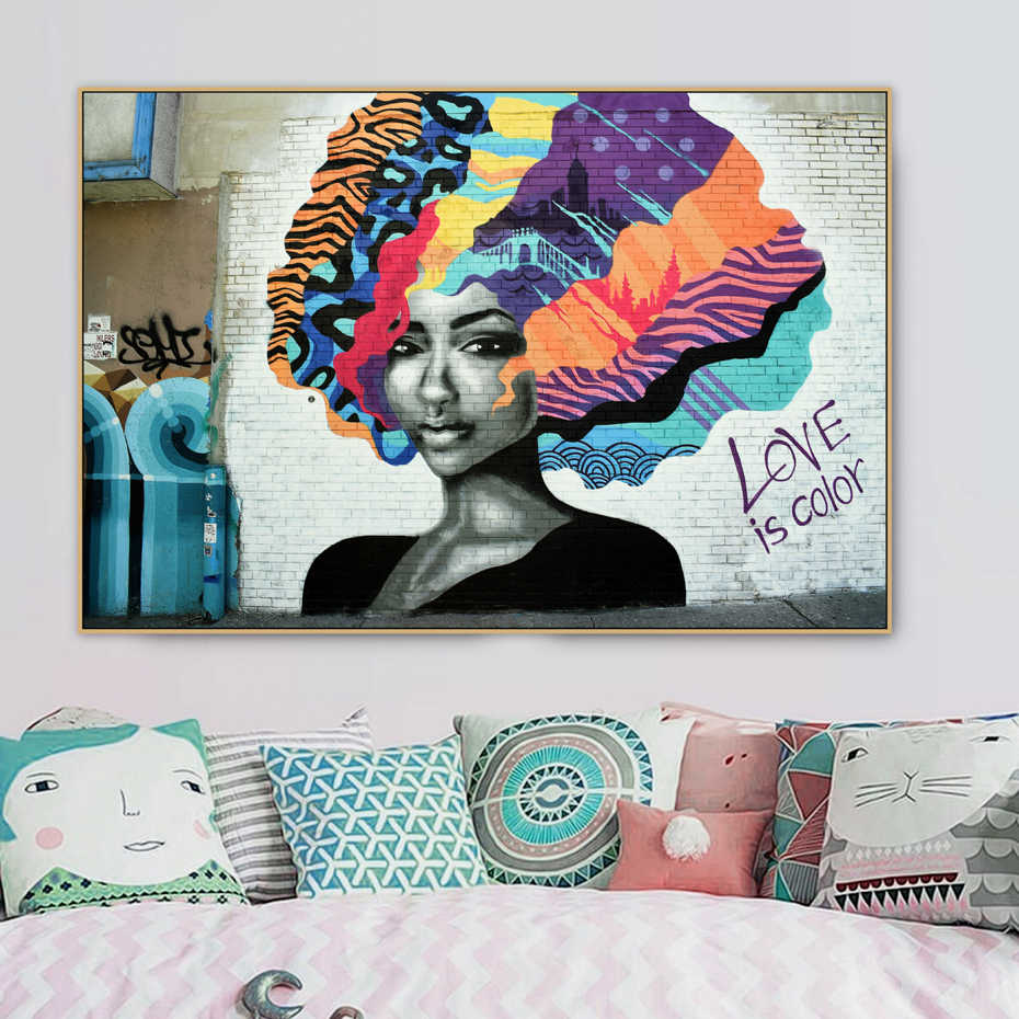 Abstract Hair Girl love is color Graffiti Street Art Banksy Canvas Painting Poster Print Wall Art Picture Living Room Home Decor