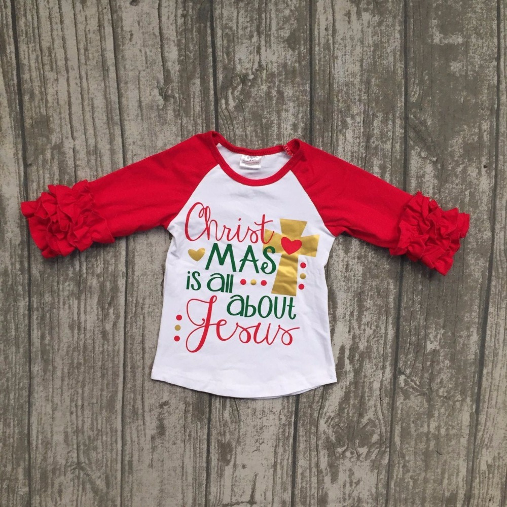 christmas is all about yours cross baby girls children clothes red white ruffles top t shirts raglans cotton boutique outfits