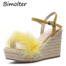 Bimolter platform sandals women Buckle shoes Sheep Suede fur heels Solid Color femme Straw Thick High Heels Handmade Shoes FC013 bimolter women thick platform flip flops sandals women novelty pvc transparent summer shoes high heels ladies buckle shoes fc071