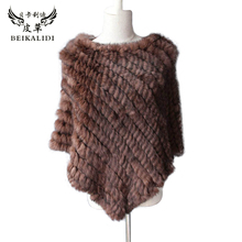 2018 Real Rabbit Fur Poncho Women Fashion Style Knitted Shawl Ladies Natural Fur Cape Real Fur Knit Wraps Triangle Shawls
