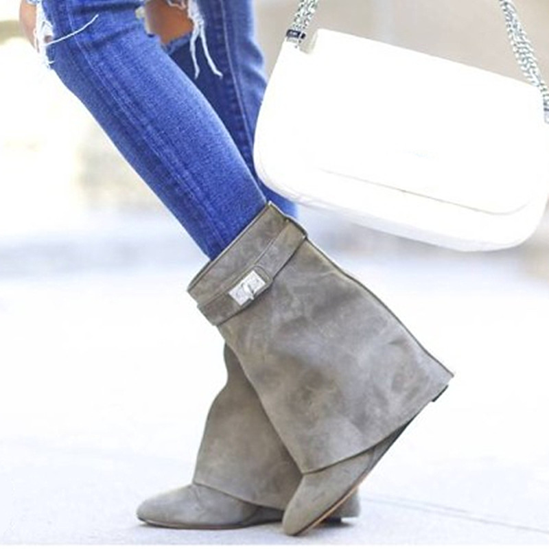 Belt Buckle Wedges Ankle Boots Pointed Toe Women Fashion Fold Over Leather Boots