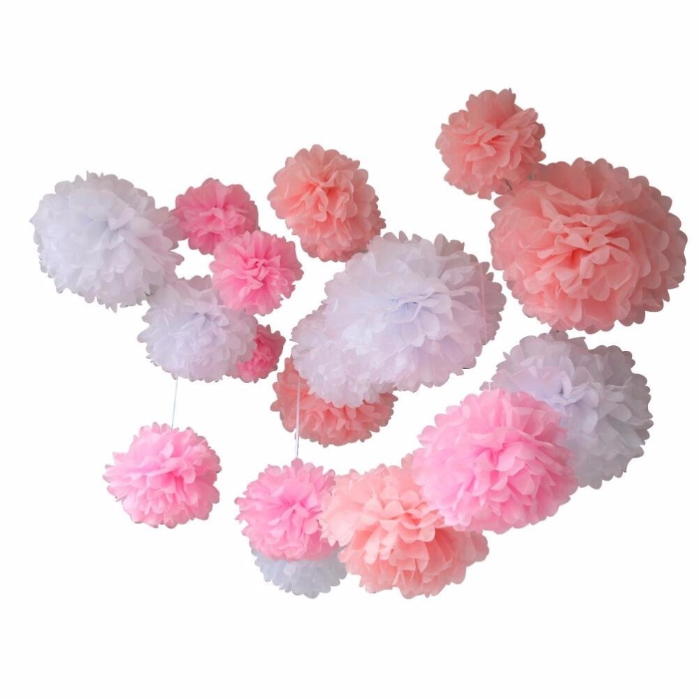 White Pink Pom Poms For Birthday Party New Baby Shower And Sweet 16