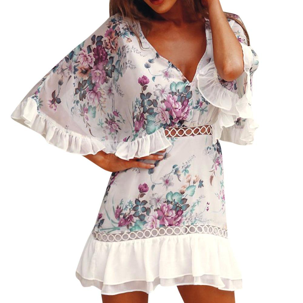 2020 Summer Dress Women Fashion Casual Ladies Chiffon Lace Printing Ruffle Sleeve Mini Dress Evening Party Dress