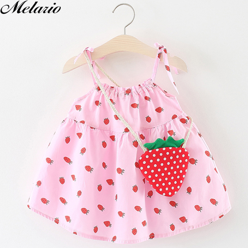 Melario Girls Dresses 2018 Summer New Fashion Baby Girl Dress Sleeveless Slip Girls Party Dress With Bag Children Kids Clothes