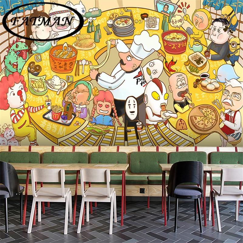 Blackboard Wallpaper Murals Food Wallpaper Murals Bistro: Custom Photo Wallpaper 3D Cartoon Character Graffiti Mural
