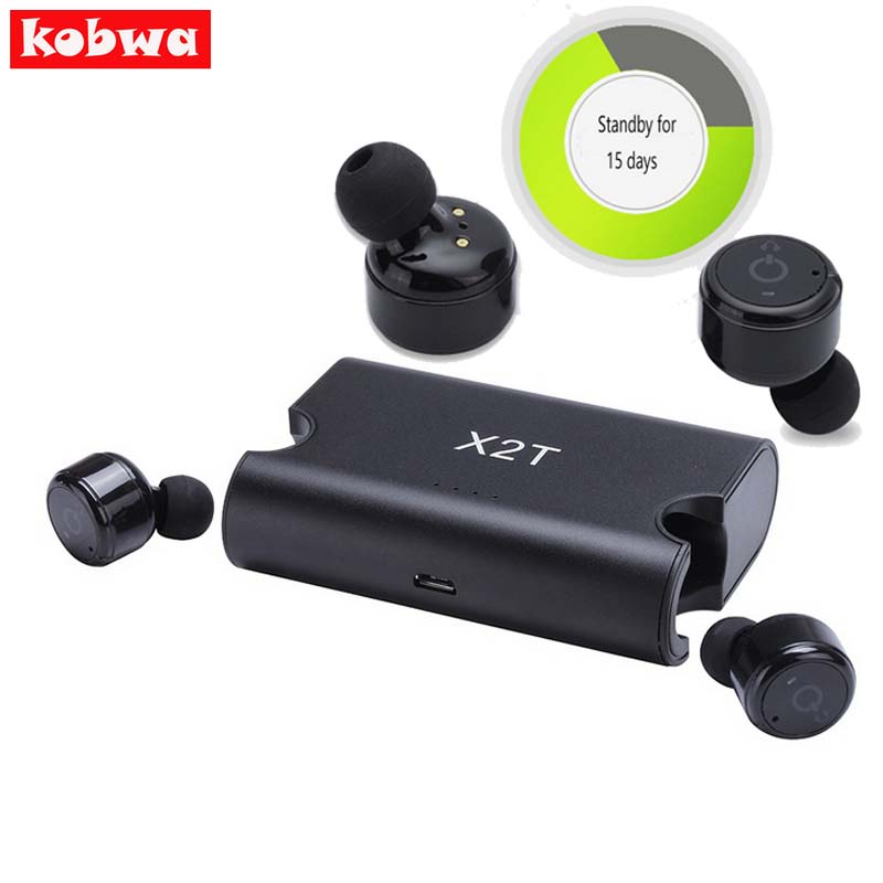 Kobwa X2T Mini Headphone Bluetooth Portable True Wireless Earbuds TWS 4.2 Earphone 1500mAH Charger Box for ios android Phones