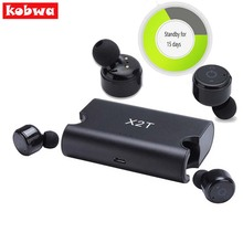 Kobwa X2T Mini Headphone Bluetooth Portable True Wireless Earbuds TWS 4.2 Earphone 1500mAH Charger Box for iphone android Phones