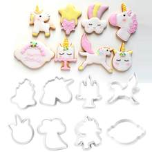 8pcs/set Innovative Unicorn Cookie Cutter DIY Fondant Chocolate Cake Embossing Stencil Mold Biscuit Mold Baking Tool(China)