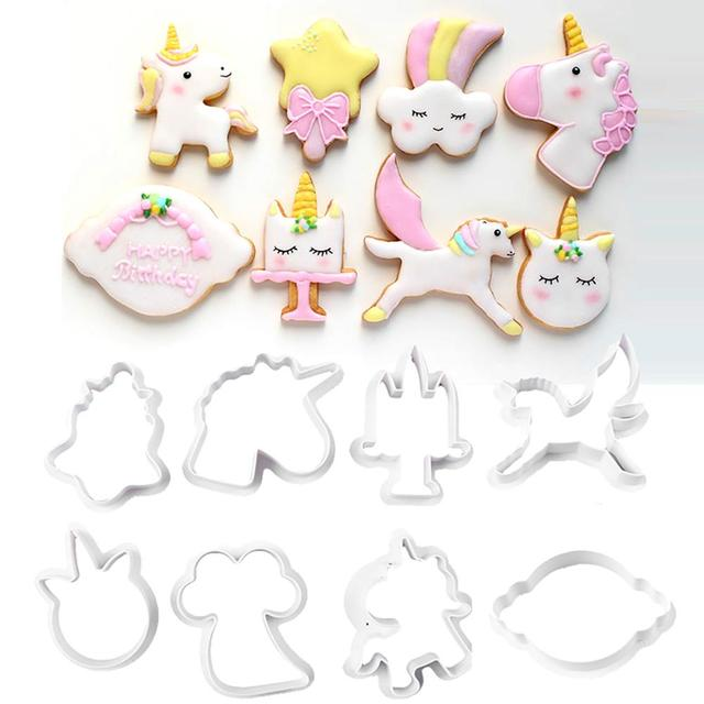 8pcs/set Innovative Unicorn Cookie Cutter DIY Fondant Chocolate Cake Embossing Stencil Mold Biscuit Mold Baking Tool