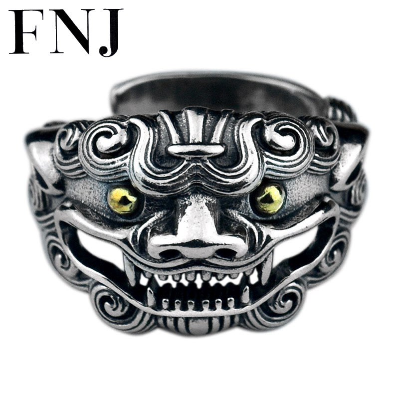 FNJ 925 Silver Animal Ring Tao Ti New Fashion Original S925 Sterling Silver Rings for Men