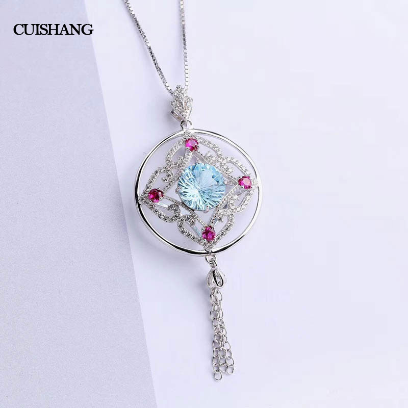 CSJ Sky Blue Topaz Topaz Pendants 925 Sterling Silver Engagement Necklace For Women Wedding Party Gift