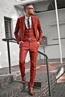 Ultime Mutanda Del Cappotto Progetta Arancione Vestito Da Uomo Slim Fit Blazer Skinny 3 Pezzo Tuxedo Personalizzata Casual Partito Prom Abiti Terno Masculino T8