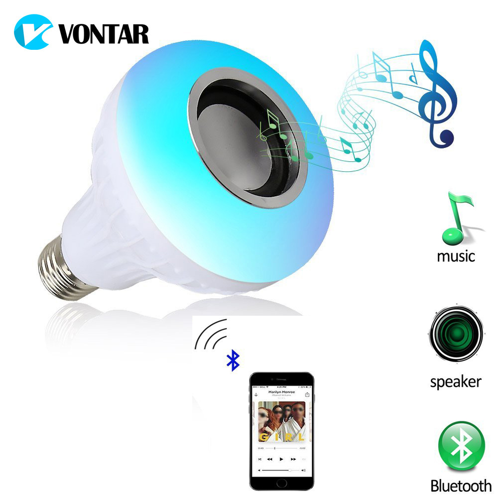 VONTAR Smart Led Light E27 Wireless Bluetooth Speaker 12W RGB Bulb LED Lamp 110V 220V Music Player Audio with Remote Control novelty lights 8 colors changeable e27 wireless bluetooth speaker rgb color smart led light bulb with remote control lamp light