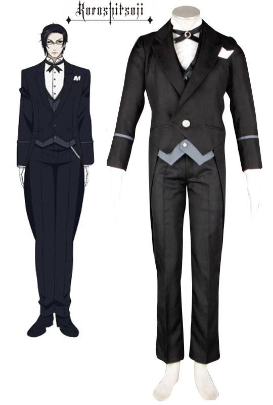 Free Shipping Black Butler Kuroshitsuji Claude Faustus Butler Uniform Suit Anime Cosplay Costume
