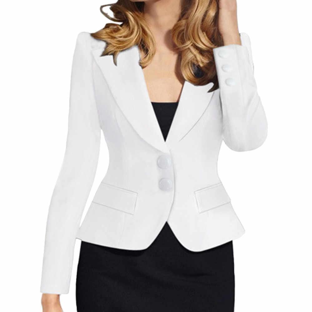 JAYCOSIN 2019 新レディースジャケットのスーツの襟固体スリムフィットロングスリーブシングルブレスト小ジャケットブレザー女性のブレザー女性