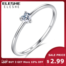 ELESHE Authentic 925 Sterling Silver Finger Ring Crystal Simple Heart Wedding Rings for Women Engagement Original Silver Jewelry