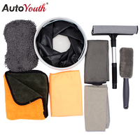 8PCS Car Wash Cleaning Set Include Foldable Bucket Wheel Brush Microfiber Drying Plating Crystal Waxing Towel Chenille Sponge