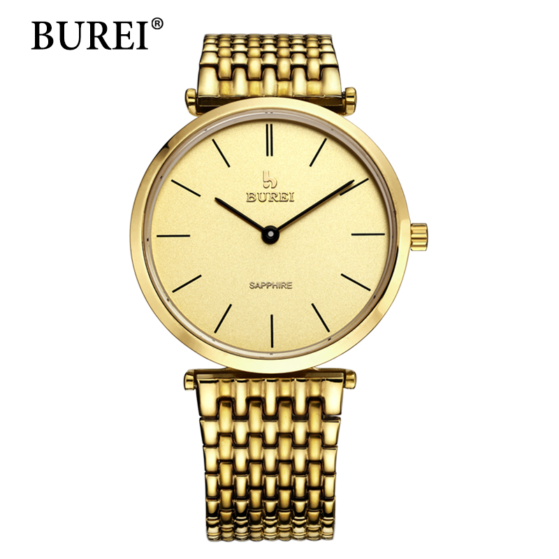 BUREI Gold Watch Fashion Top Luxury brand Watches Unique Full Stainless Steel Band Male simple Clock Sapphire Quartz Wristwatch burei luxury women watch fashion ceramic band watches sapphire glass quartz wristwatch waterproof lady clock montre femme