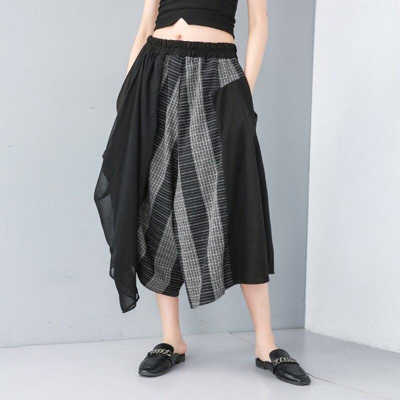 Johnature Elastic High Waist Spliced Chiffon 2019 Summer New Cotton Linen   Wide     Leg     Pants   Fashion Loose Women Calf-length   Pants