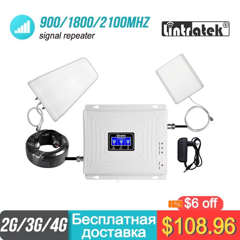 Amplificateur de Signal à trois bandes Lintratek 2g 3g 4g 900 1800 2100 GSM WCDMA UMTS LTE répéteur cellulaire amplificateur 900/1800/2100 mhz #38