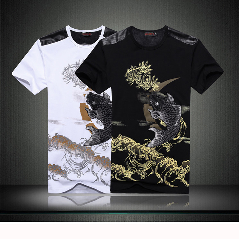 ФОТО Lifelike fine fish pattern male and female short-sleeved clothes breathable outdoor fishing T-shirt cotton bike riding vest