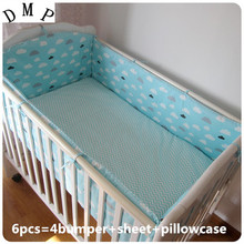 Promotion! 6pcs Crib bed 100% cotton cot baby Bedding set ,include(bumpers+sheet+pillow cover)