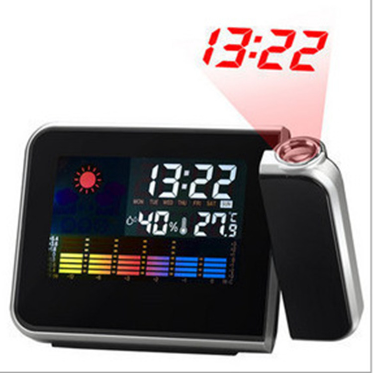 Attention Projection Digital Weather Forecast LCD Snooze Alarm Clock Projector Color Display LED Backlight 15*11*2.5cm