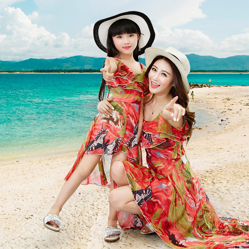 2016 Family Summer Beach Dress Mother Daughter Matching Dresses Mother And Daughter Clothes ...