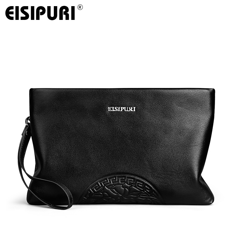 EISIPURI 2018 New Fashion Men Clutch Bag High Quality Genuine Leather Long Wallet Man Purse Big Capacity Black Clutch Handy Bag