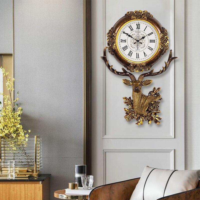 European style clock living room hanging bell deer head creative fashion quartz clock Nordic atmospheric art decorative clock - 2