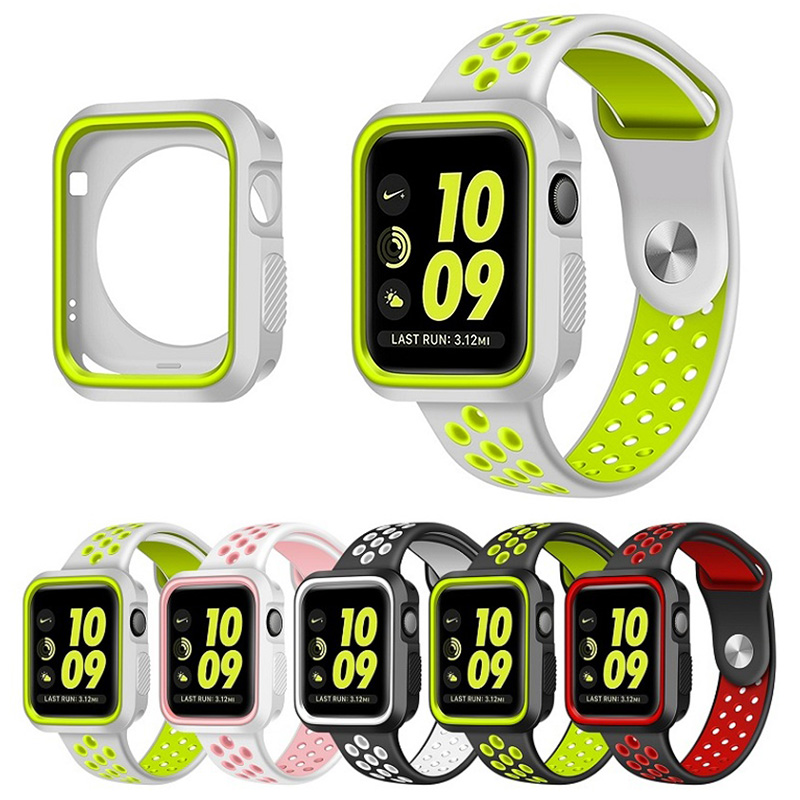 protective case with Silicon Sports Band Colorful wrist Strap for Apple Watch iwatch 38mm 42mm Bracelet Series 3 series 2 & 1 цена