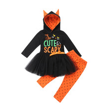 2018 new toddler kids girls halloween clothes long sleeve hooded tutu dress topsdot legging pant 2pcs outfits clothing set