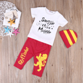 Newborn Infant Baby Boy Girl Clothes Summer Short Sleeve Letter Snuggle this Muggle T-shirt+Long Lion Pants+Striped Hat 3pcs Set