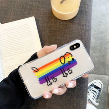 Candy rainbow dog cute cartoon Phone Case For coque iPhone 7 7Puls 6 8 Plus clear soft case silicon for iphone cover X XR Xs max