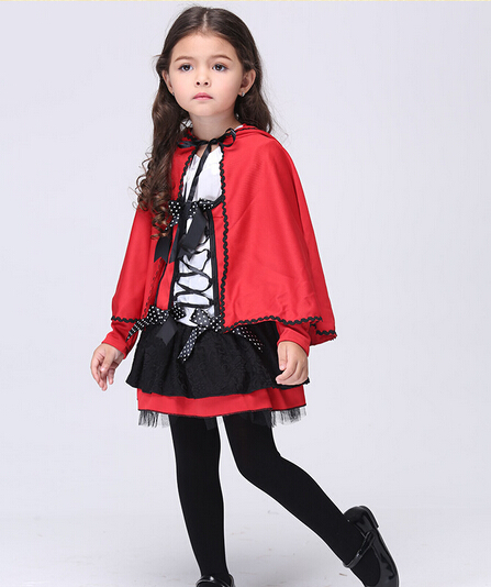 Free shipping girl kid 95-135cm little red riding hood cHalloween kids Costume Dress+cloak Cosplay Costumes party stage set