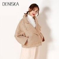 DENISKA 2018 Winter Women Warm Woolen Coat Ladies Turn Down Collar Button Short Outwear Female Casual Long Sleeve Overco