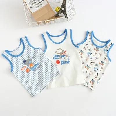 VIDMID Baby boys tanks tops boys cotton 3pcs Camisoles vests boys new kids underwear Tanks children's Camisoles clothes 7068 02