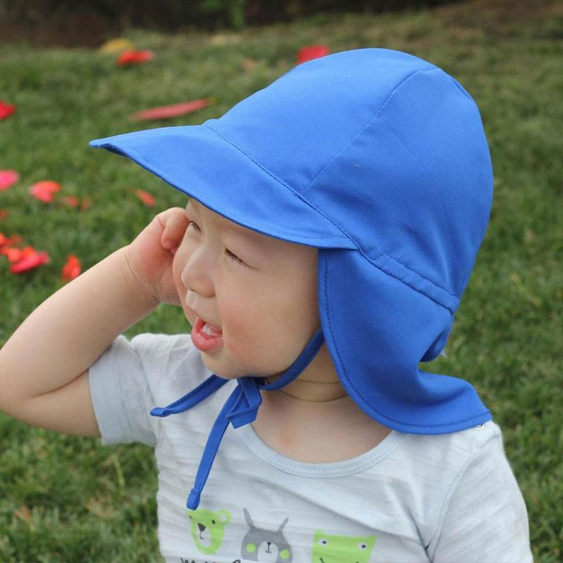 Summer Baby Sun Hat Children Outdoor Neck Ear Cover Anti UV Protection Beach Caps Kids Boy Girl Swimming Flap Cap For Kids