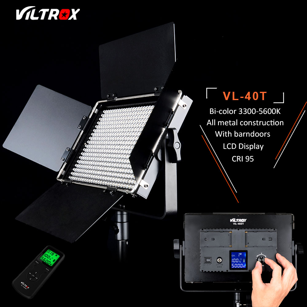 Viltrox VL-40T Pro Photography 540 LED Video Studio Light,CRI 95 LCD Display 3300-5600K +Remote Control+AC Adapter+Carry Bag new godox led 308w ii 5600k white led remote control professional video studio light ac adapter hot selling