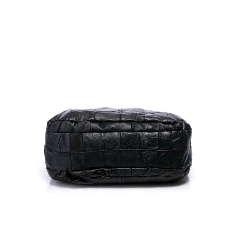 À Main Femelle En D'embrayage Mouton Femmes Cuir Bolsa Capacité Peau Tissage Sac De Principal Noir Sacs L'épaule Véritable Sur Un xwBtCIqZI
