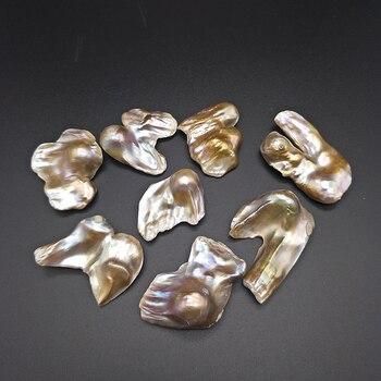 f22657082774 Shuangsheng púrpura Oro Grande Perla Barroca cuentas sueltas forma  Irregular perla 35-60mm DIY mujeres COLLAR COLGANTE joyería hacer