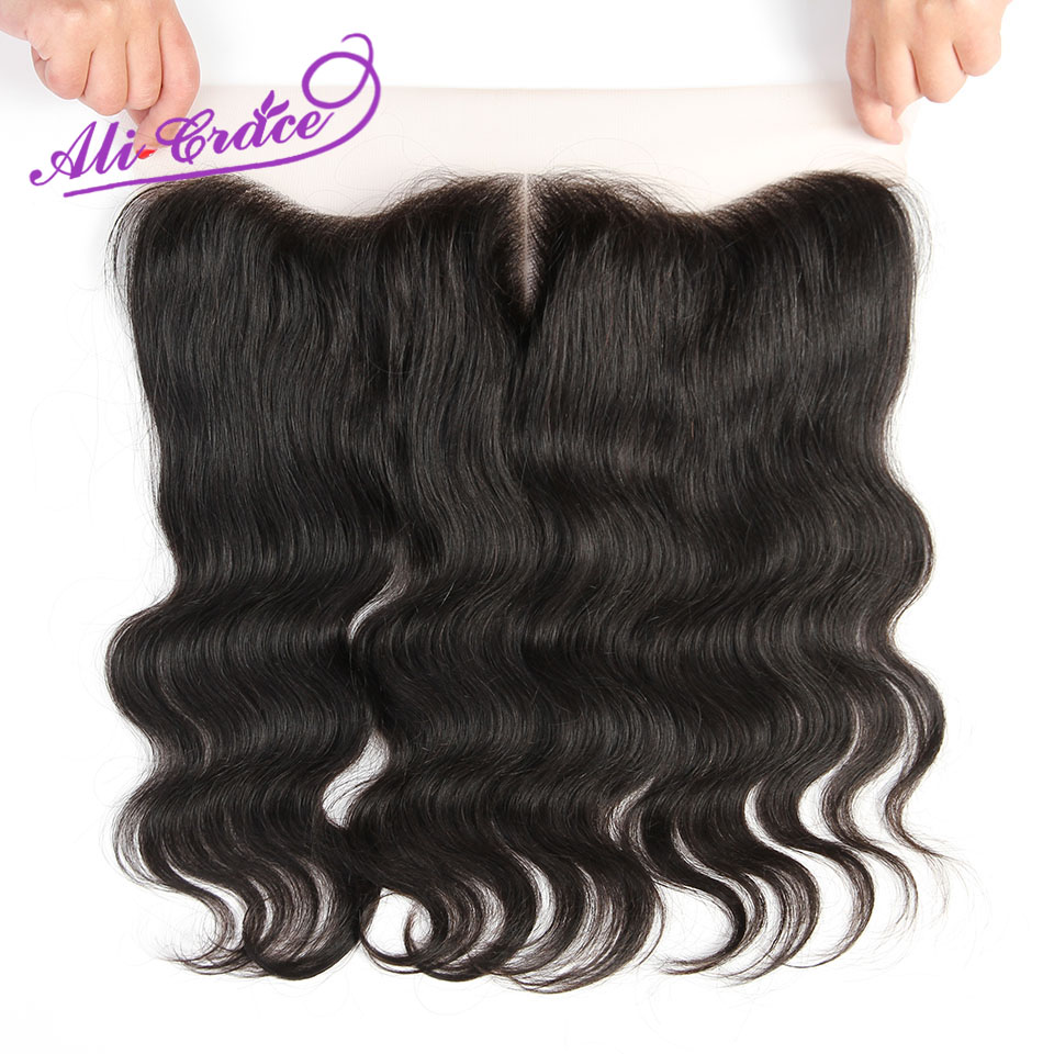 Ali Grace Peruvian Body Wave Lace Frontal Middle Free Part Two Options Hand Tied 13 4